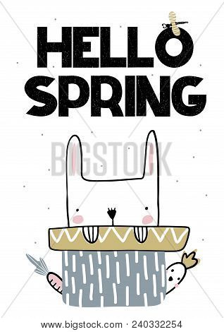 Card With Lettering Hello Spring With Cute Bunny And Parrot. Vector Illustartion In Handwritten Styl