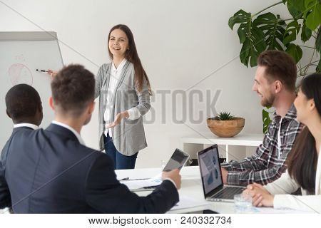 Smiling Young Employee Or Manager Giving Presentation Working On Flipchart In Meeting Room Making Bu