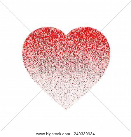 Red Grunge Distressed Textured Hand Made Heart Made Of Paint Spray With Drops, Dribble, Sprinkle. Ha