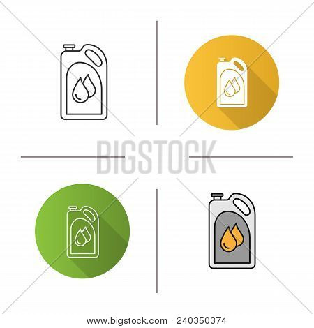 Motor Oil Icon. Flat Design, Linear And Color Styles. Plastic Jerry Can With Liquid Drops. Fuel Cont