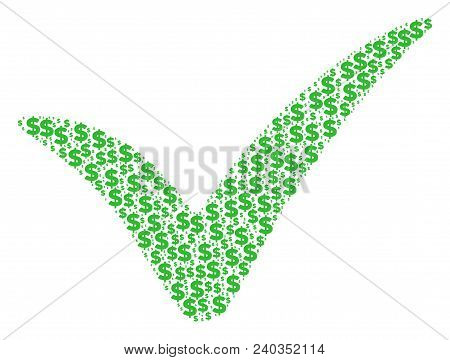 Yes Mosaic Of Dollars And Round Points. Vector Banking Symbols Are Combined Into Yes Composition.