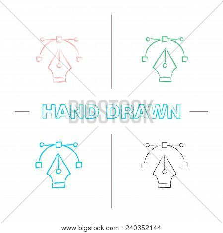 Fountain Pen Nib Hand Drawn Icons Set. Color Brush Stroke. Computer Pen Tool. Drawing. Isolated Vect