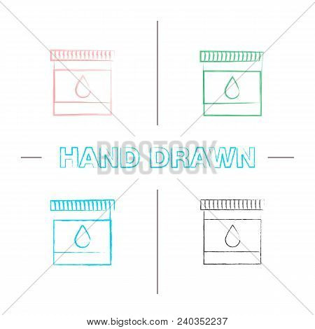 Printer Cartridge Ink Hand Drawn Icons Set. Color Brush Stroke. Plastic Bottle With Drop. Isolated V