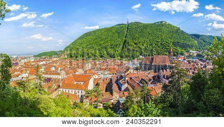 Cityscape Brasov, Aerial And Panoramic View, Transylvania, Romania.