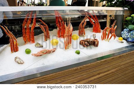 Fresh Delicious Seafood Photographed On Crushed Ice At The Fish Market, Showcase Of Seafood In The S
