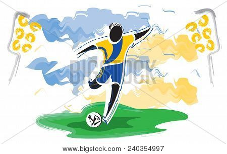 Football Championship. Artistic Figurative Soccer Character And Watercolor Feeling.