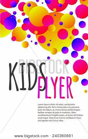 Kids Bright Flyer With Confetti, Abstract Summer Banner, Poster, Template, Background For Birthday I