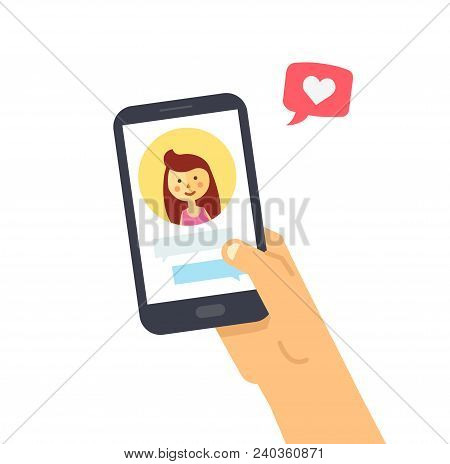 Male Hand Holding Smartphone With Girlfriend On Screen. Vector Phone And Social Networking. Phone An