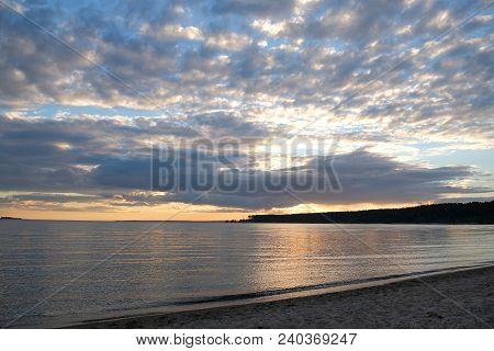 Beautiful Summer Sunset On The Beach Of Ob Sea, Siberia, Russia