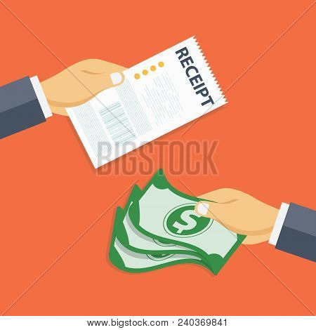 Paying Bills Concept. One Hand Giving Receipt Bill And Another Hand Giving Cash Money. Flat Vector I