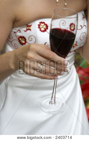 Red Wine In Bride Hand