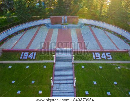 Drone View Of Stairs, Lawn And Square With Eternal Flame Of Zavokzalnyy Memorial Complex, Sochi, Rus