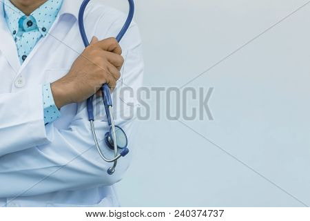 Doctor Arms Crossed With Stethoscope, Isolated On White Background, Concept Of Business Advertising