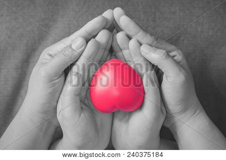 Woman And Child Holding Red Heart. Concept Of Take Care And Family.