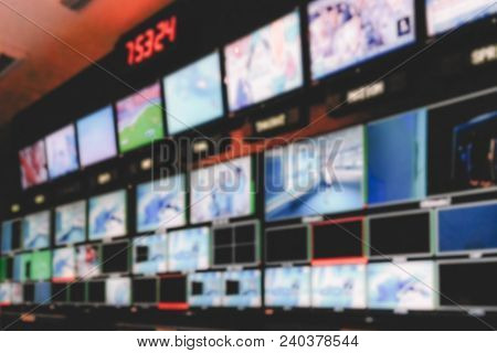 Blur Image Video Switch Of Television Broadcast, Working With Video And Audio Mixer, Control Broadca