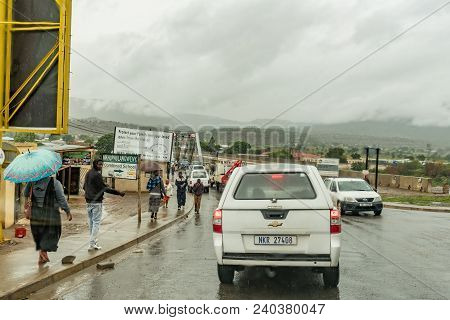 Tugela Ferry, South Africa - March 22, 2018: Vehicles Waiting To Cross The Single Lane Road Bridge O