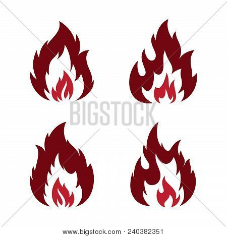 Set Red Fire Flaming Abstract Vector Icon Isolated On The Blank Background. Flaming Fire Shape Sign