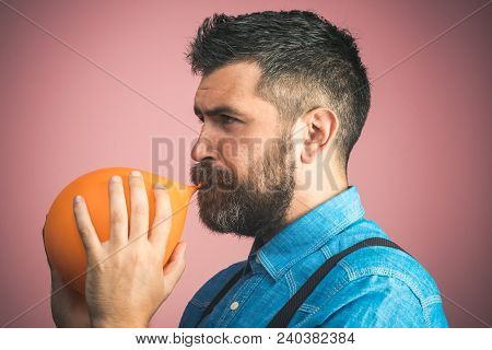 Celebration, Happy Birthday, Preparation To Party, Happy Family - Bearded Father Is Blowing Orange B