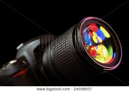 lens of the digital camera in light