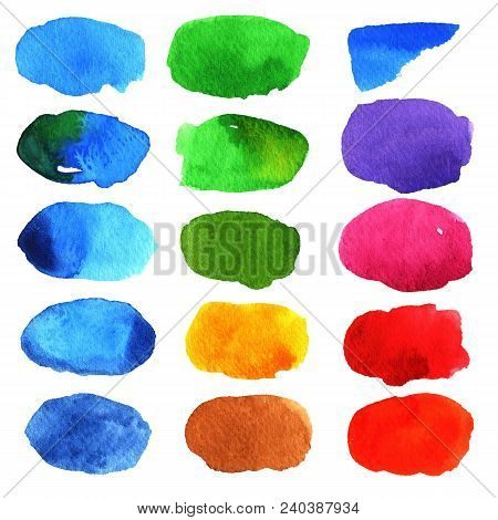 Set Of Colored Watercolor Stains On White Background