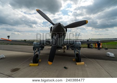 Berlin, Germany - April 25, 2018: Ground-attack Aircraft Ilyushin Il-2 Sturmovik On The Airfield. Ex