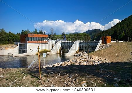 Small Hydro Power Plant On The River Vah In Podturen - Liptovsky Jan. Energy From Water. An Environm