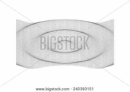 3d Rippled Line Surface. Vector Black Rippled Wavy Background