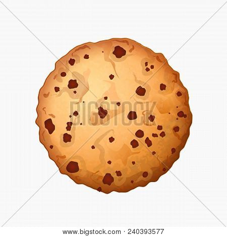 Freshly Baked Chocolate Crumbs Chips Isolated On White Background. Homemade Choco Chip Cookies Vecto