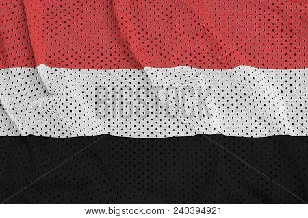 Yemen Flag Printed On A Polyester Nylon Sportswear Mesh Fabric With Some Folds