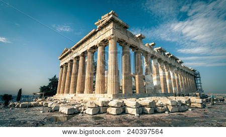 Panoramic Sunny View Of Parthenon On The Acropolis Of Athens, Greece. The Famous Ancient Greek Parth