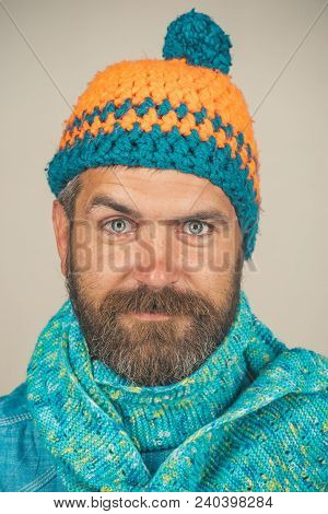 Men Autumn/winter Fashion. Handsome Bearded Man Wearing Autumn Or Winter Clothing. Attractive Man Wi