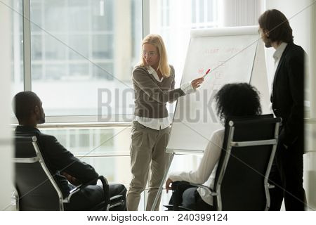 Caucasian Businesswoman Leader Or Business Coach Presenting New Sales Strategy To African Executive