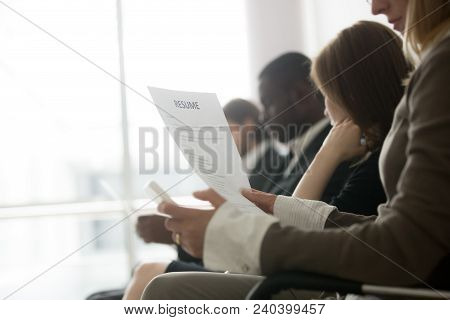 Multiracial Business People Waiting In Queue Preparing For Job Interview Concept, Diverse Unemployed