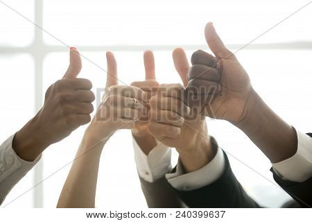 Hands Of Diverse Business Team People Showing Thumbs Up Like Finger Gesture As Concept Of Recommenda