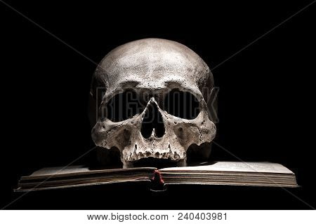 Human Skull On Old Open Book On Black Background. Dramatic Concept
