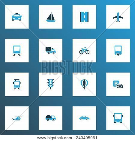 Transportation Icons Colored Set With Sign, Road, Streetcar And Other Stoplight Elements. Isolated V