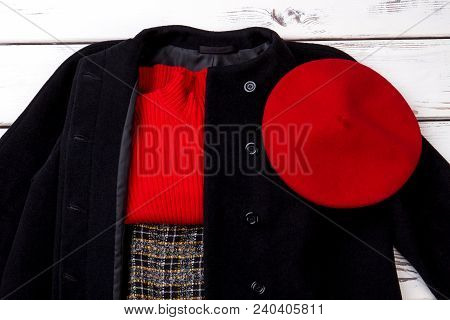 Set Of Ladies Classic Apparel. Women Black Coat And Red Accessories. Female Red Sweater And Beret On