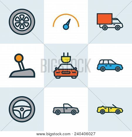 Automobile Icons Colored Line Set With Speedometer, Pickup, Crossover And Other Electric  Elements.