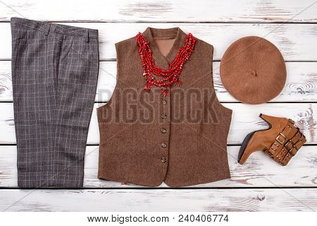 Flat Lay Classic Garment For Women. Female Classic Capri, Vest, Beret And Footwear. Set Of Women Clo