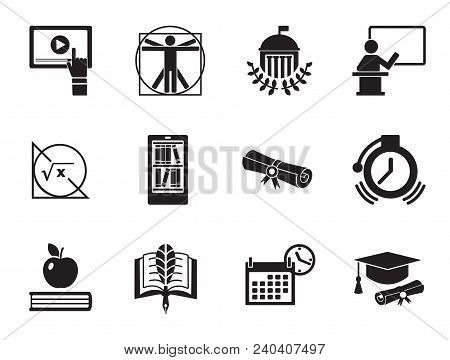 Science Icons Set With Diploma, Webinar And Math Formula. Thirteen Vector Icons