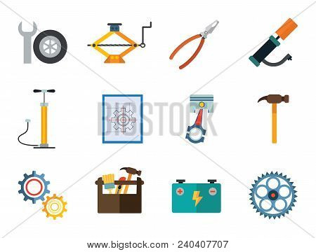 Service Vector Icons Set. Thirteen Flat Icons Of Spanner, Gear Wheels, Tire Inflator And Other Instr