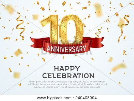 10 Years Anniversary Vector Banner Template. Tenth Year Jubilee With Red Ribbon And Confetti On Whit