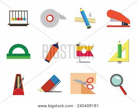 Stationery Vector Icons Set. Thirteen Icons Of Collision Balls, Protractor, Eraser And Other Office