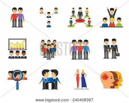 Team Icon Set. Virtual Colleagues Team Building Collaboration Team Efficiency Project Team Structure