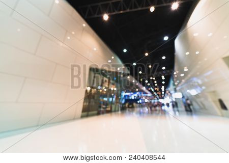 Public Event Exhibition Hall, Blurred Bokeh Defocused Background. International Business Trade Show,