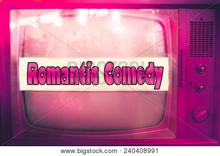Romantic Comedy Pink Tv Film Genre Purple Television Label Old Tv Text Vintage Retro Romance Movie B