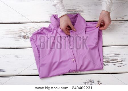 Woman Beautiful Hands And Blouse. Female Hands Folding Women Shirt. Boutique Of Feminine Classic Gar