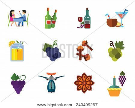 Wine Icon Set. Dinner Summer Cocktails Bunch Of Grapes Bottle Of Wine And Glass Lemonade Cloves Grap