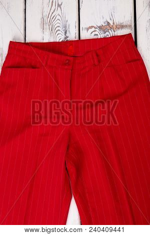 Women Classic Design Red Trousers. Female Formal Outfit On Sale. Feminine Business Style Garment.