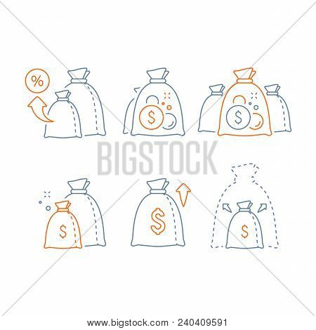 Income Increase Vector Line Icon Set, Long Term Investing Strategy, Financial Profit, Capital Growth